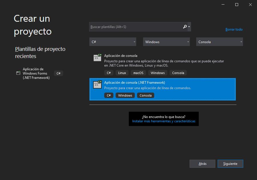 Crear el proyecto C# de aplicación de consola en Visual Studio .Net Community 2019