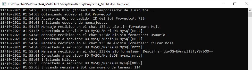Ejecutando la aplicación de consola que abre varios hilos y lee y envía mensajes a Bot de Telegram