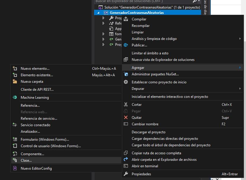 Código fuente de la aplicación C# que genera contraseñas aleatorias