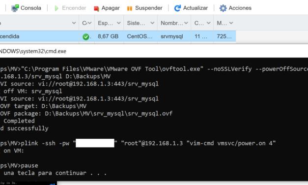 Hacer copia de seguridad de una máquina virtual VMware con OVF Tool de forma automática