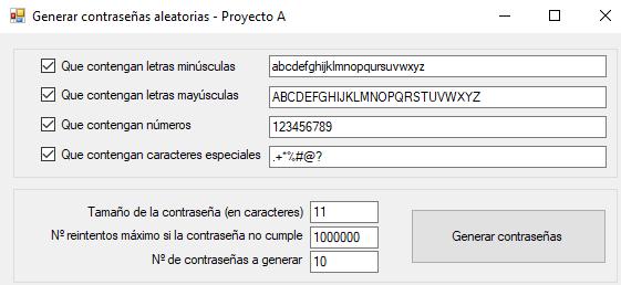 La aplicación Generador de contraseñas aleatorias en funcionamiento