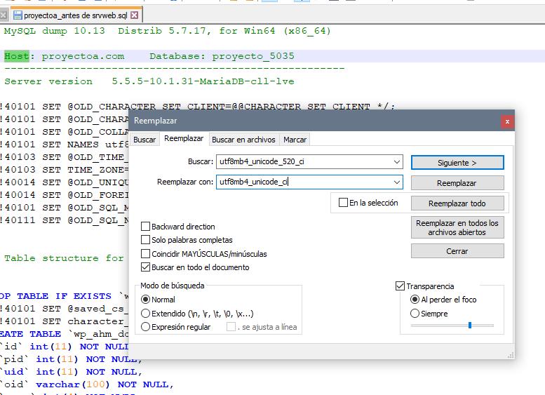 Reemplazar juego de caracteres en fichero import de SQL de MySQL