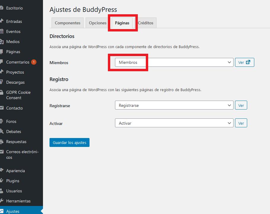 BuddyPress - Miembros